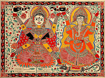 Goddess Lakshmi and her adopted son Lord Ganesha(real son of Parvathi and Shiva) are usually worshiped together .