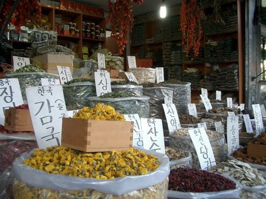 Dried herbs for medicine in Kyungdong Market, Jegidong, Dongdaemun-gu, Seoul, Korea