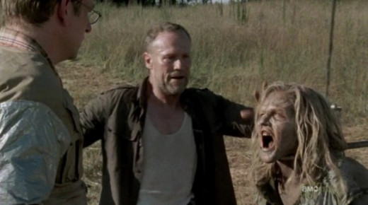 Screen shot of Milton and Merle in season 3 of The Walking Dead