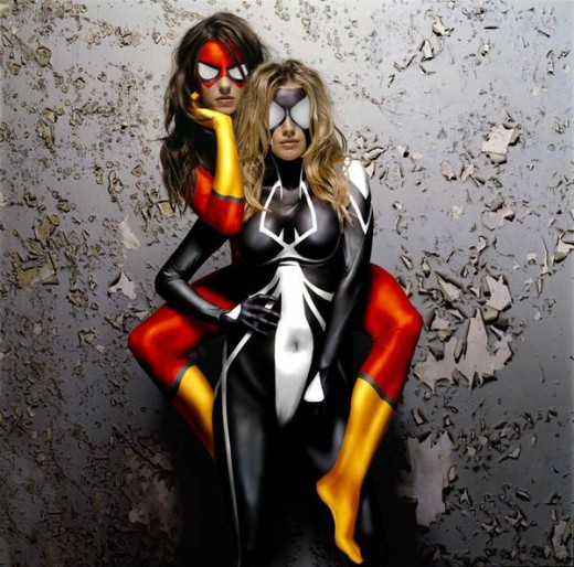 Jessica Drew and Julia Carpenter Spider Woman Costumes