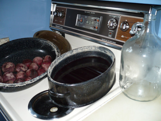 Boiling the beets in a roasting pan. Hey, use what you have.