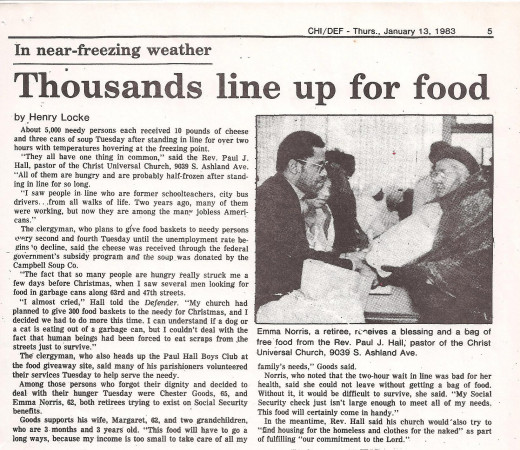 Chicago Defender 1983.  One of many news articles covering the Paul Hall Community Service Center food giveaway.