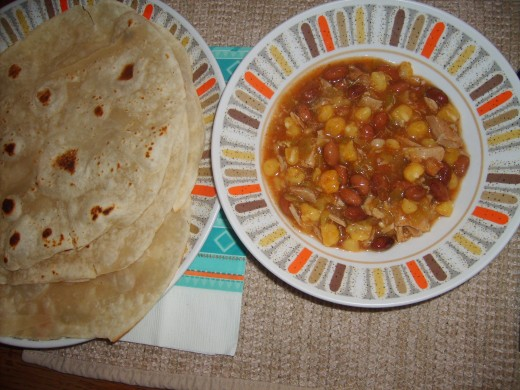 Served with homemade flour tortillas