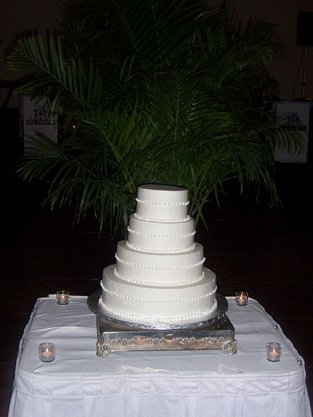 A basic wedding cake waiting to be decorated