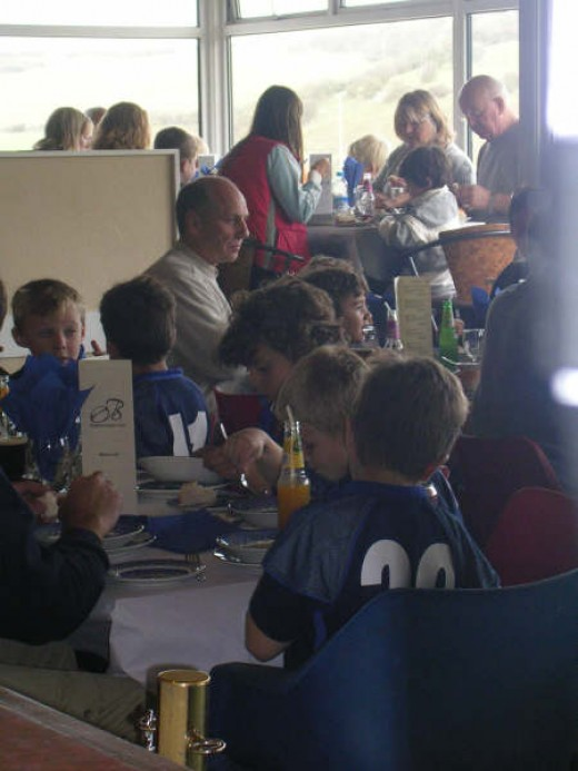 I instigated Sunday lunches for the young players and their families.  I took this from my bar, of a lovely day at work.