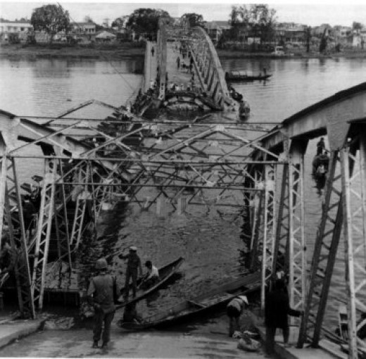 One of the collapsed bridges across the Perfume River connecting the new city with the Citadel, destroyed by the NVA