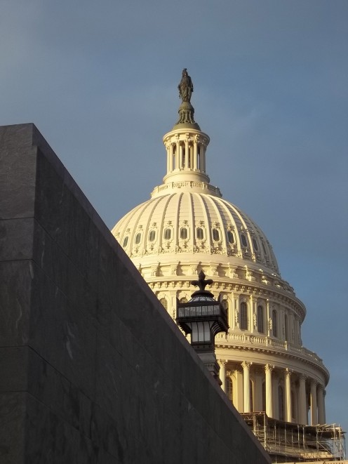 View of the United States Capital Dome from the steps of the Visitor Center.