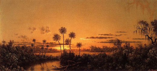 """Florida River Scene: Early Evening, After Sunset,"" oil on canvas, by the American artist Martin Johnson Heade. Courtesy of the Gilcrease Museum."