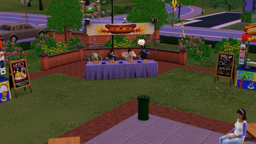 Hotdog eating contest in The Sims 3 Seasons Expansion Pack