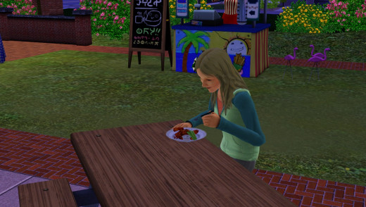 Eating chicken wings at the fair on The Sims 3 Seasons Expansion Pack.