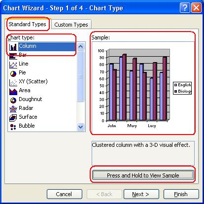 Select the chart type and chart sub-type you want
