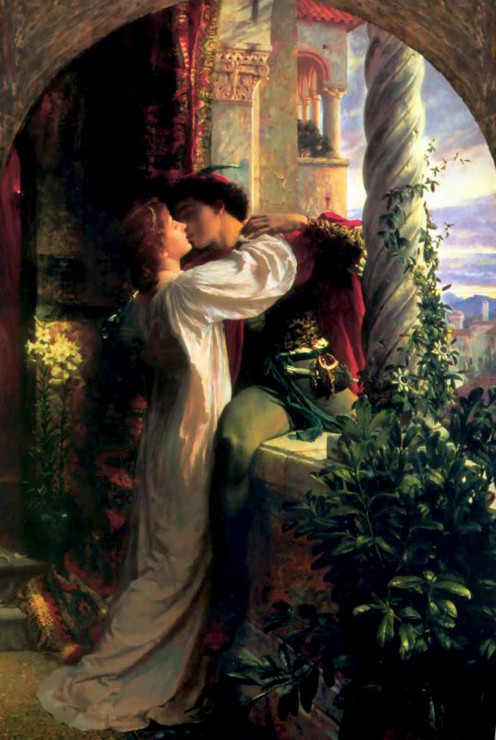 Artwork representing the famous balcony scene from Romeo and Juliet. This 1884 painting is by artist Frank Bernard Dicksee.
