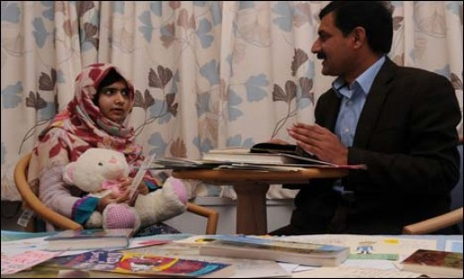 Malala and her father.