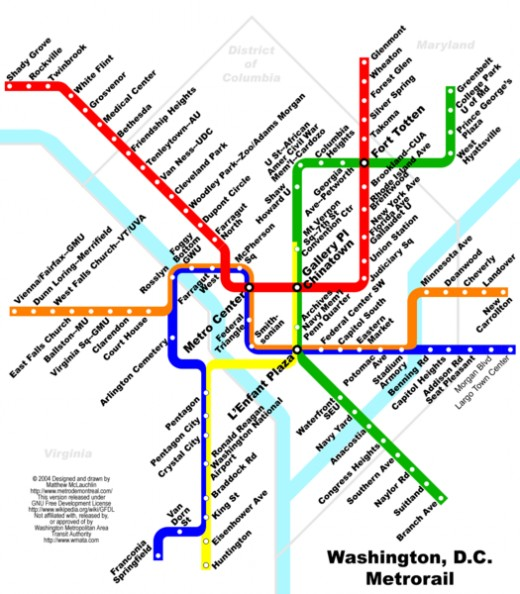 Metro routes around Washington DC