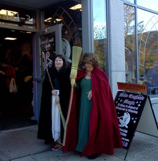 Here they are again, sporting their cloaks and broomsticks in front of New England Magic in Salem, MA. Used with permission.