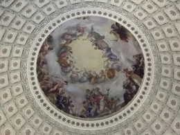 """The Apotheosis of Washington"" by Constantino Brumidi is the painting at the top of the dome of the rotunda in the U.S. Capitol Building."
