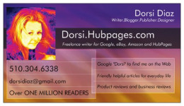 My latest business card for my writing business. Designed using VistaPrint and one of my photos.