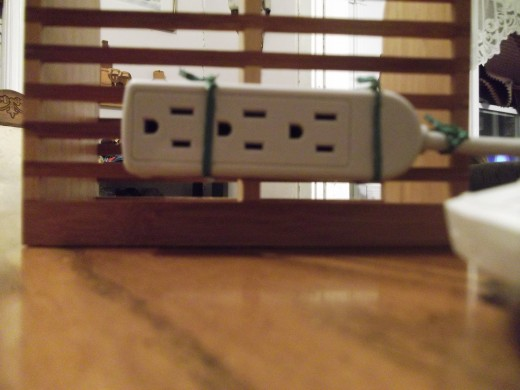 Back view of the attached small power strip.