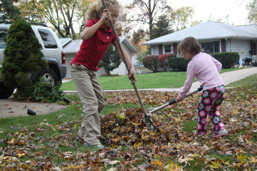Raking (and then playing in) leaves in the neighbors' yard