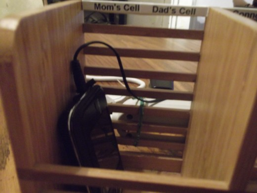 Charging cell phone.