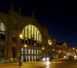 Gare du Nord frontage at night, Arrondissement X, Paris.
