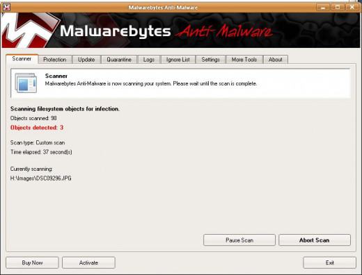 Malware scanning in progress with three objects detected