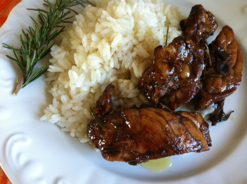 'Pollo alla Cacciatore' served with rice