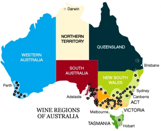 Main Wine Producing Areas Throughout Australia