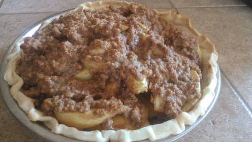 Homemade Apple Crisp Pie with Peanut Butter