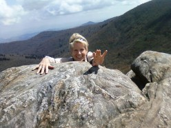 My wife Sophia Playing on the proposed Dalai-Lama-wood Mountain site near Asheville, NC (LOL)
