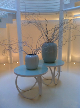 Trendy Italian design vases and glowing lights of the Spa on the 'Wellness Center' level
