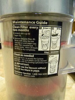 Directions to clean the filter