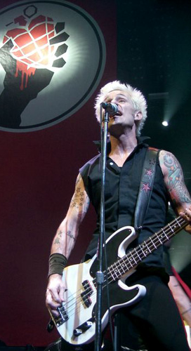 Mike Dirnt, musician, primarily of Green Day. Photograph was taken in Cardiff during the American Idiot tour