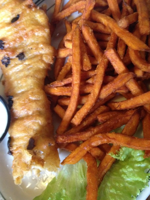 Fish and chips ... with cole slaw and sweet potato fries & marshmallow dipping sauce.