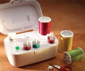 A bobbin winder rewinds bobbins without  making you rethread your sewing machine.