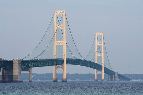 The beautiful Mackinac Bridge which connects Michigan's two peninsulas.