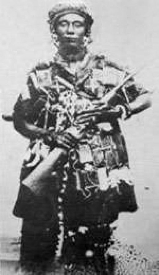 Yaa Asantewaa in battle gear