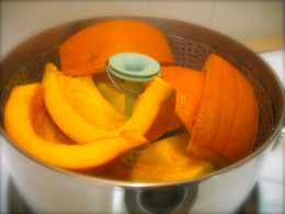 Steaming is a quick and easy option for making fresh pumpkin