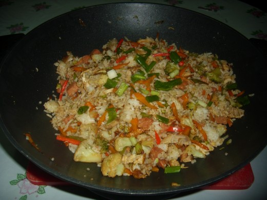 Ready to eat Meat and Vegetable Fried Rice