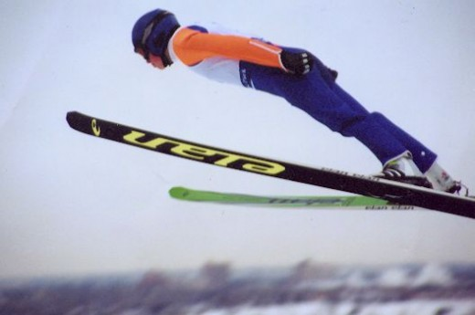 A ski jumper using the V-style