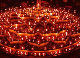 Lamps or Diyas lit in Homes