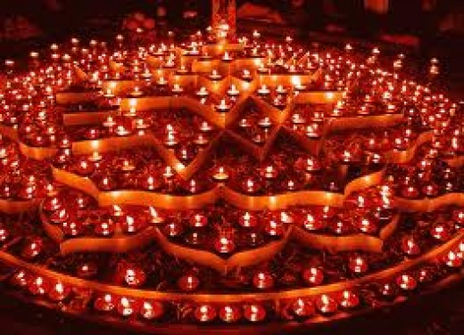 Lamps or Diyas lit in Homes