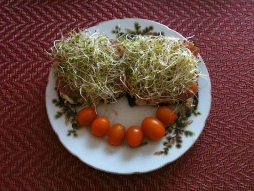 Sandwich with Baba Ganoush and Alfalfa Sprouts