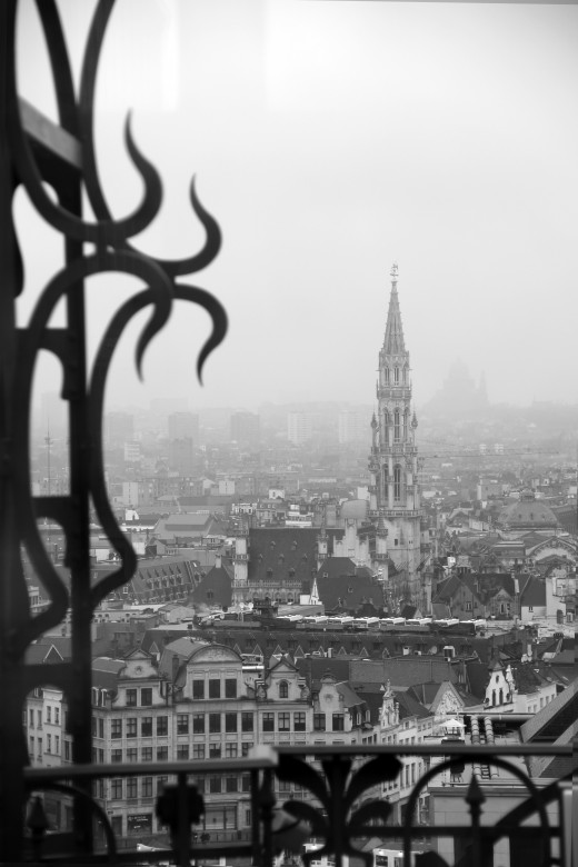 Spire of Brussels City Hall as seen from atop the Old England Building (Brussels)