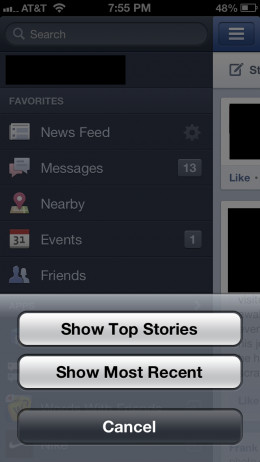 """Tap either """"Show Top Stories"""" or """"Show Most Recent."""" Your News Feed reappears and your sorting settings are applied.."""