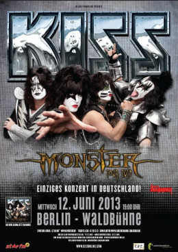 "German ""Monster"" tour poster. Note the altered KISS logo. KISS must use this version of their logo in Germany because the original resembles the Nazi ""SS"" logo a little too closely for comfort according to German law."
