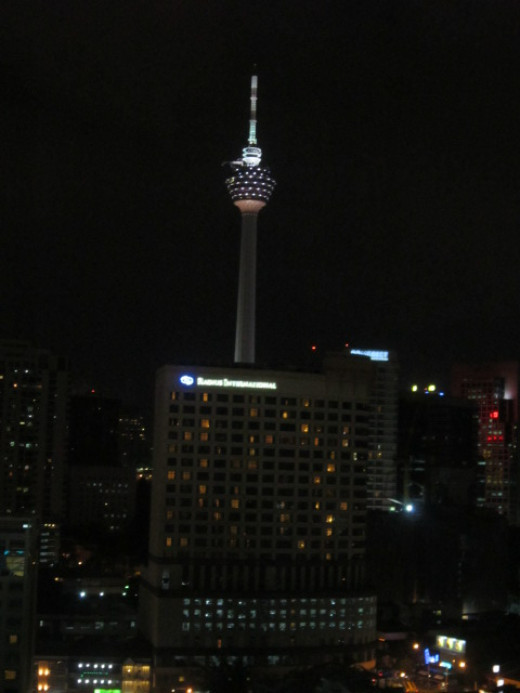 The magnificent Single Tower of Kuala Lumpur lighted at night.Taken from my hotel room.