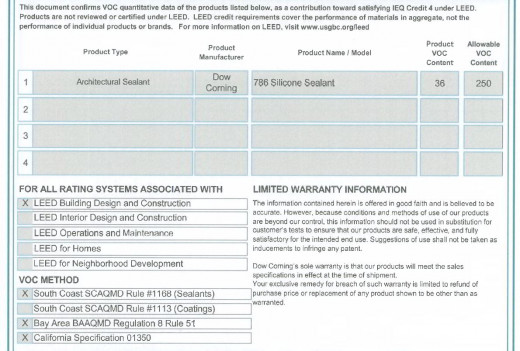 Snapshot of a Low-VOC compliance statement from the manufacture for a sealant product.