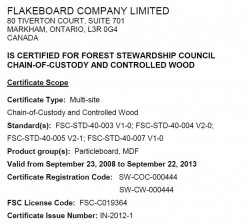 "Snapshot of a certification of the ""Chain of Custody"" of a wood product."