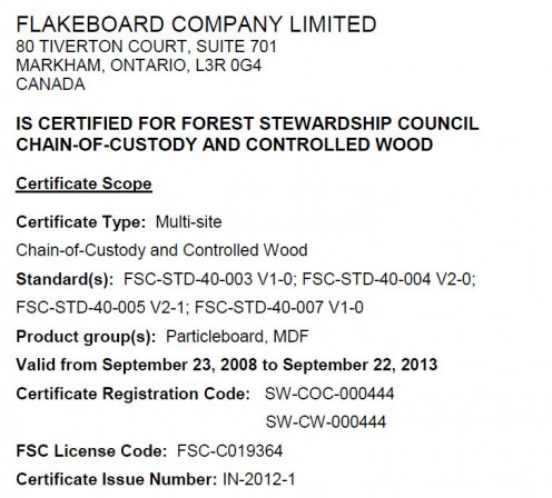 """Snapshot of a certification of the """"Chain of Custody"""" of a wood product."""